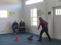 Judy Moore working with dog to demonstrate a down stay